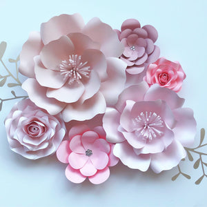 Set of 6 Paper Flowers wall decor, nursery, bedroom, floral piece all pinks