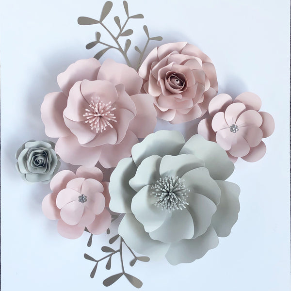 Set of 6 Paper Flowers wall decor, nursery, bedroom, floral piece more colours