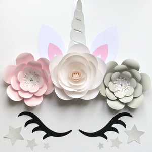 Pearl Unicorn Flowers Backdrop, Wall, Party Decor