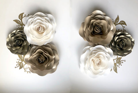 6 Rose Paper Flower set large. Inc leaves