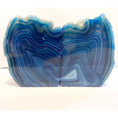 Blue Crystal Agate Book Ends