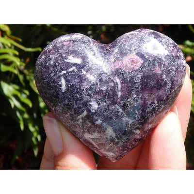 Dark Purple Lilac LEPIDOLITE + PINK TOURMALINE Crystal Heart