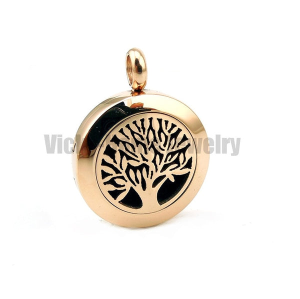 With free silver Chain Tree of Life (20-30mm) Aromatherapy / Essential Oils Stainless Steel Perfume Diffuser Locket Necklace