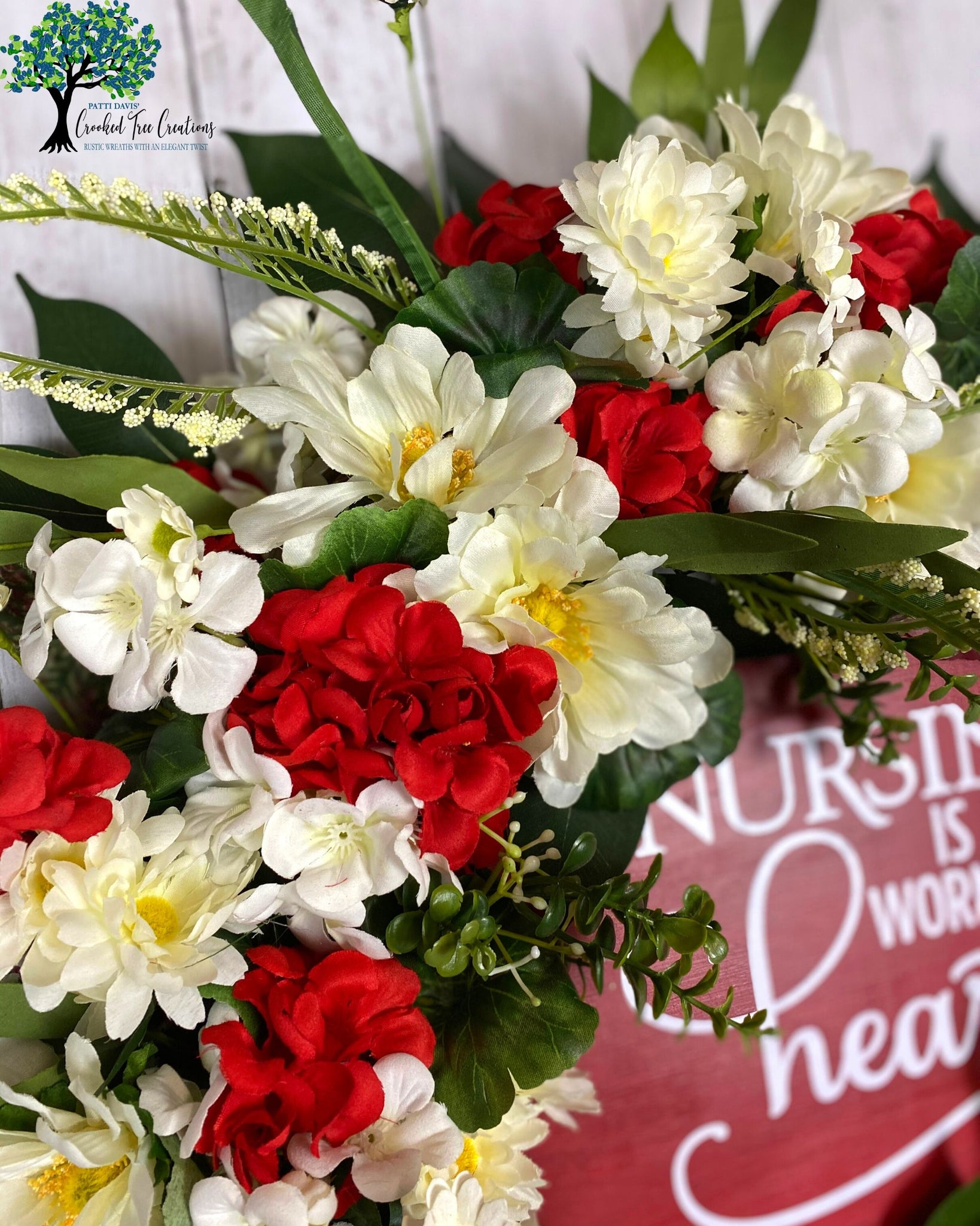 Nursing Is A Work Of Heart Red And White Summer Wreath Crooked Tree Creations