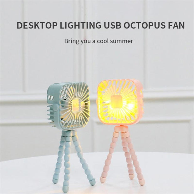 Octopus Mini Handheld USB Portable Deformation Fan-With Night Light