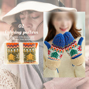 Plush knitted wool gloves