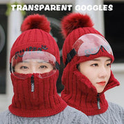 Warm Fluffy Velvet Cap With Goggles