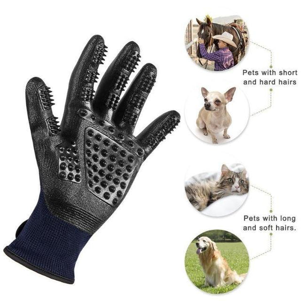 GLOPET™ : Grooved Pet Grooming Gloves