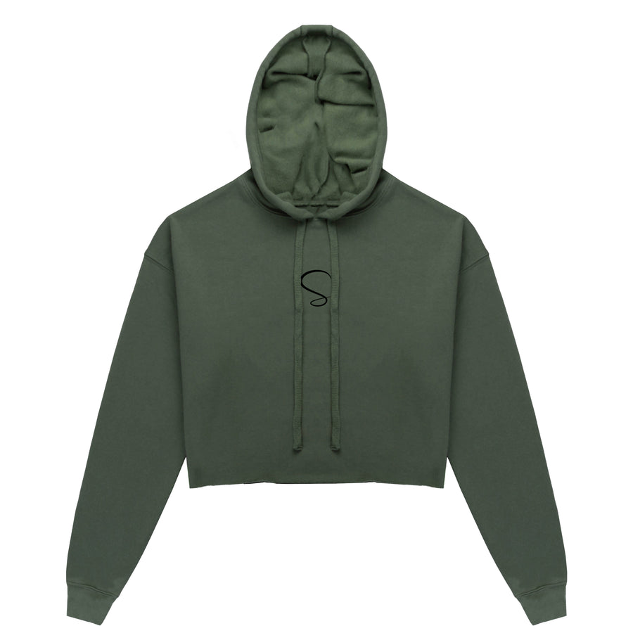 Cropped Hoodie Army Green