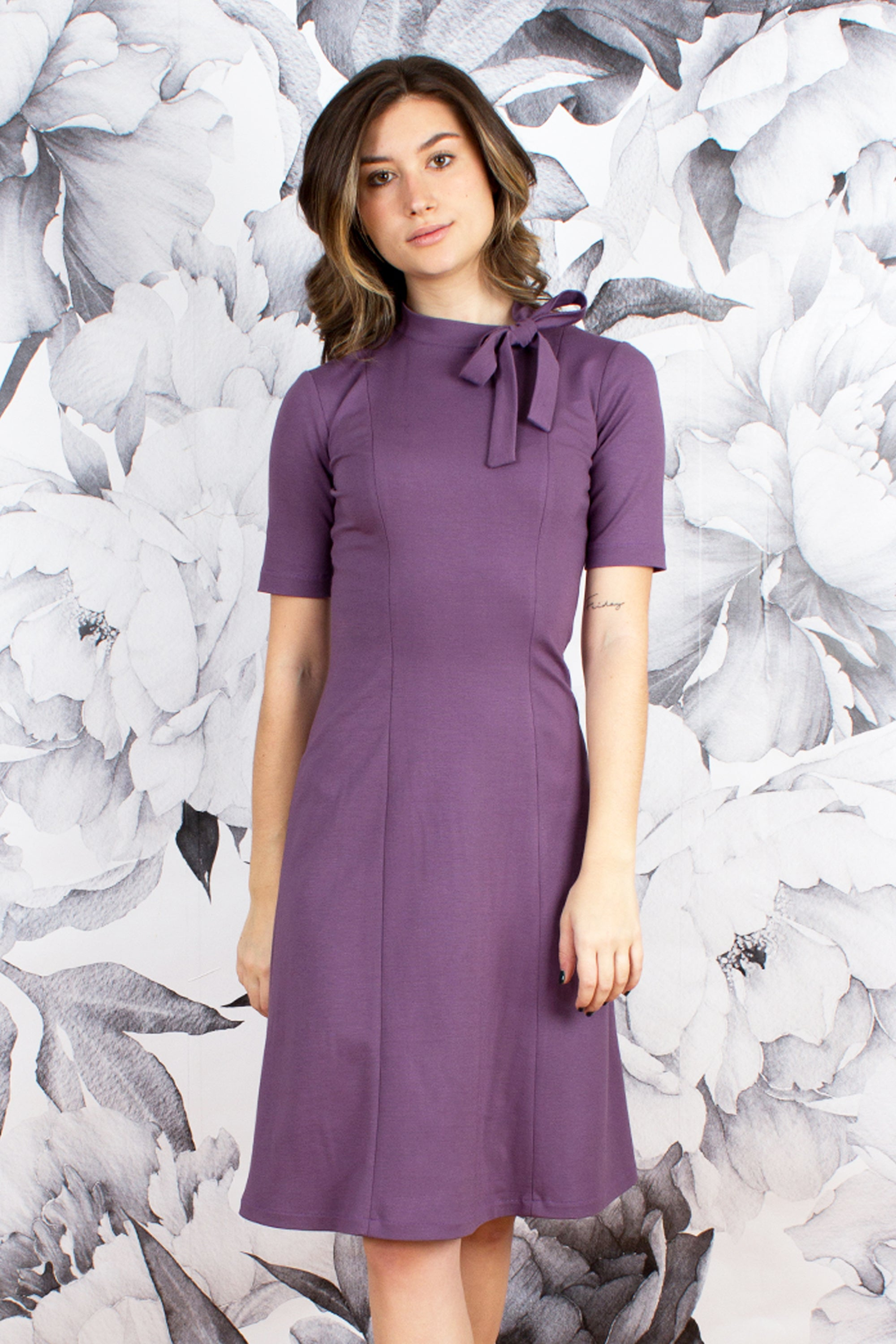 Neck Bow Fit and Flare Dress