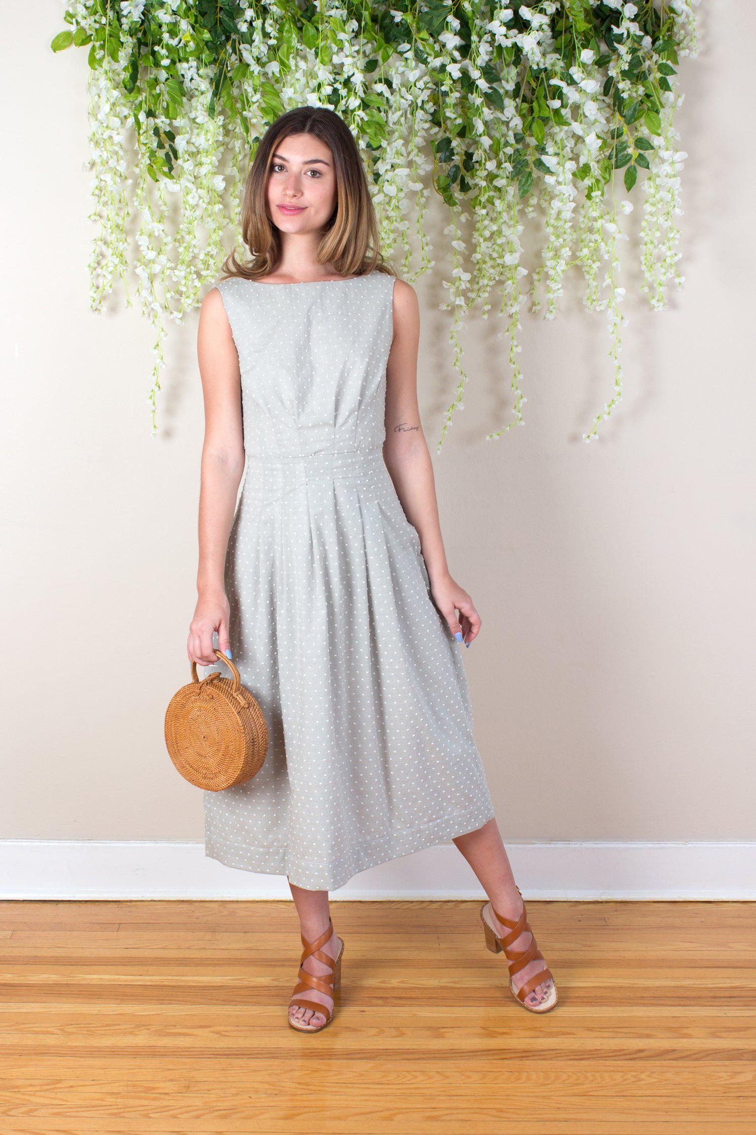 Textured Cotton Thea Dress - Sage