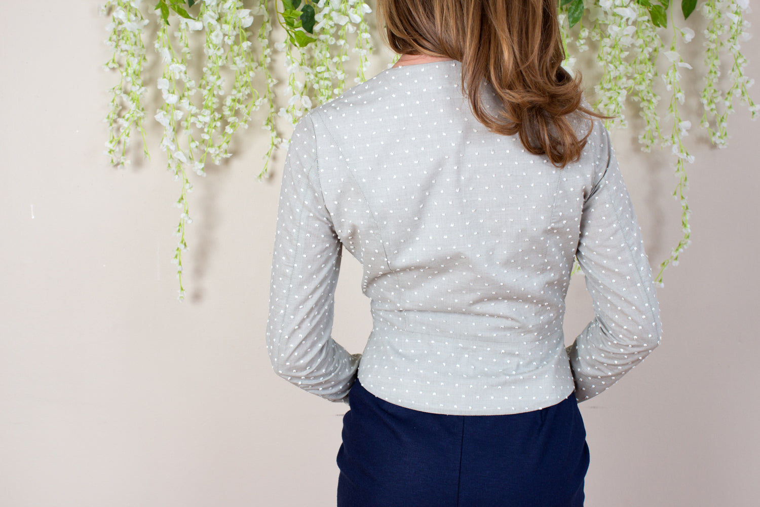 Swiss Dot Mini Peplum Blouse - Sage