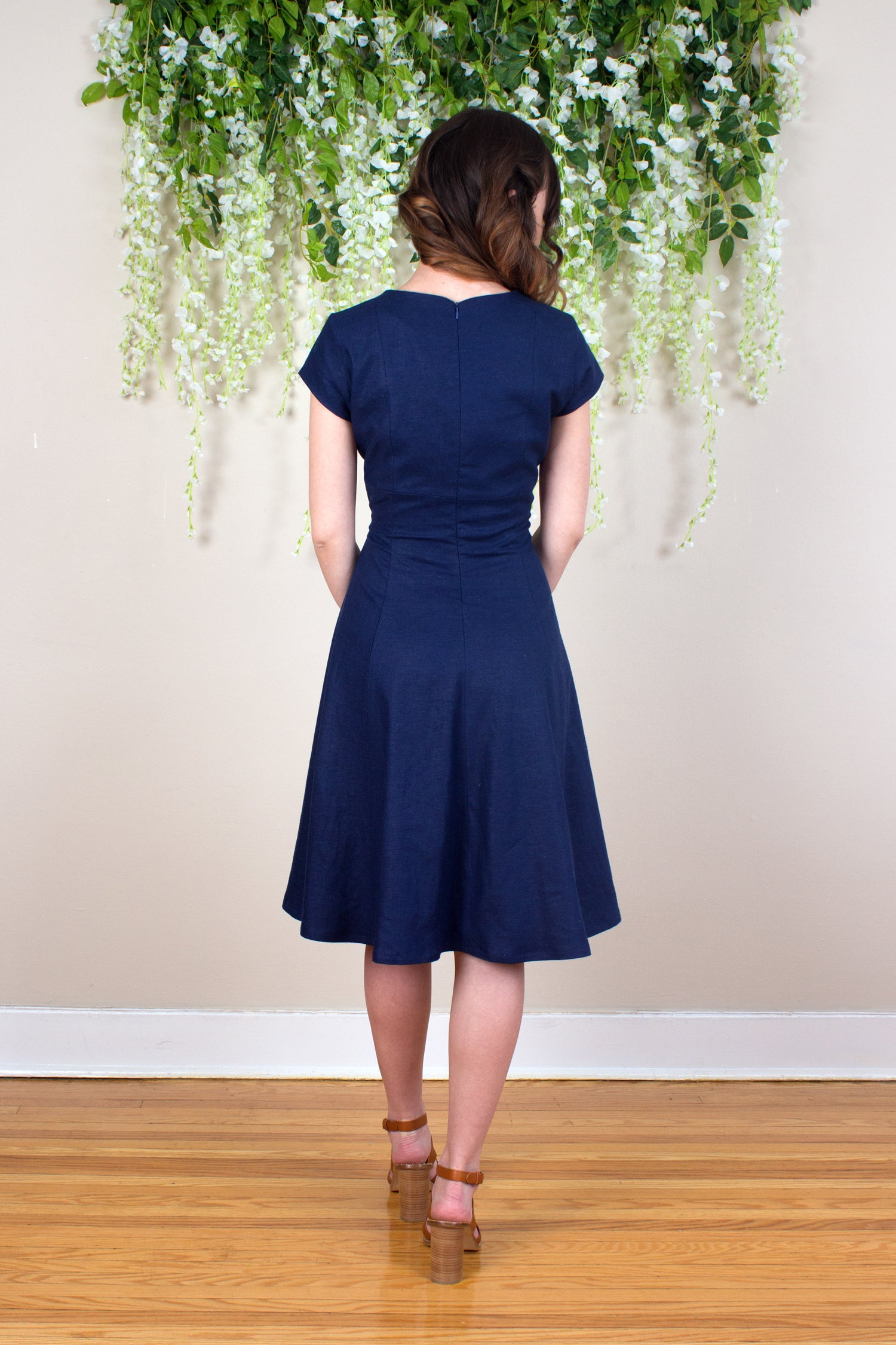 Linen Fit and Flare Dress - Navy