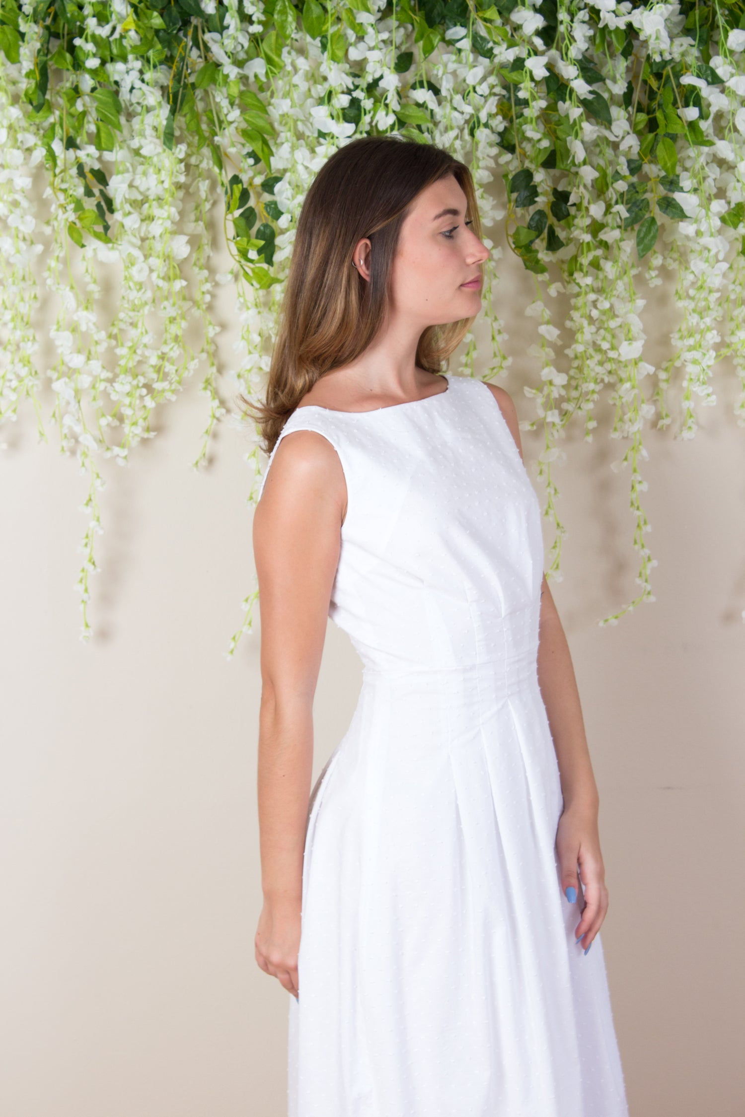 Textured Cotton Thea Dress - White