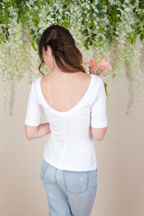 Scoop Back Top - White