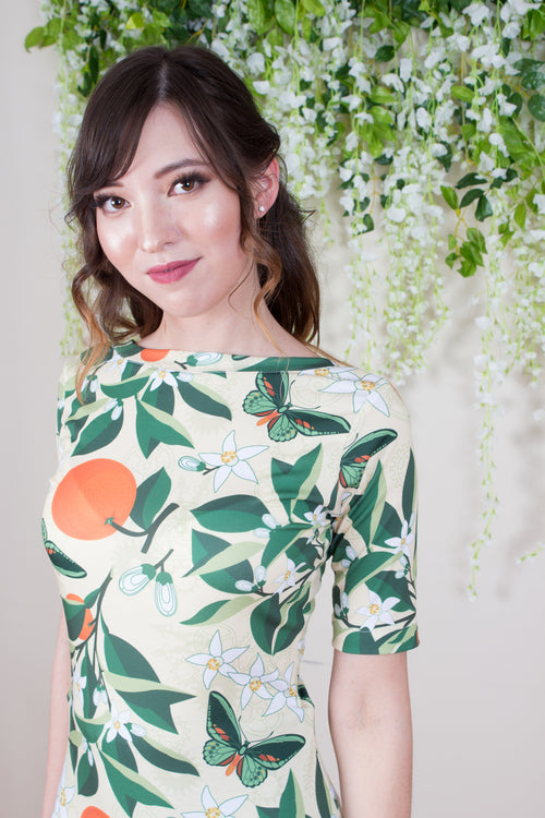 Scoop Back Top - Botanical Print
