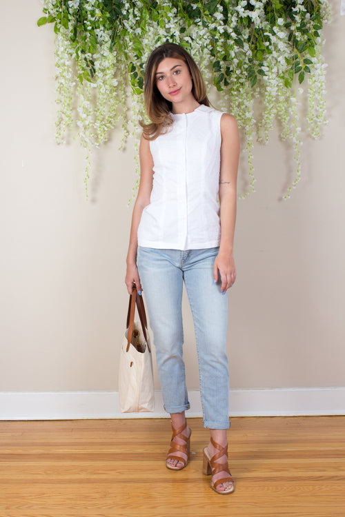 Swiss Dot Sleeveless Blouse - White