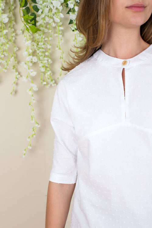 Swiss Dot Keyhole Blouse - White