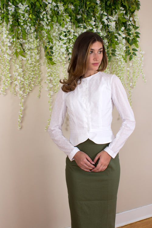 Swiss Dot Mini Peplum Blouse - White