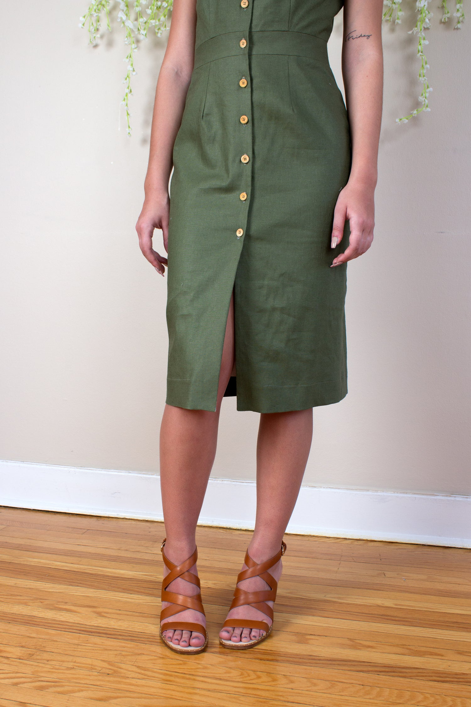 Linen Sheath Dress - Olive