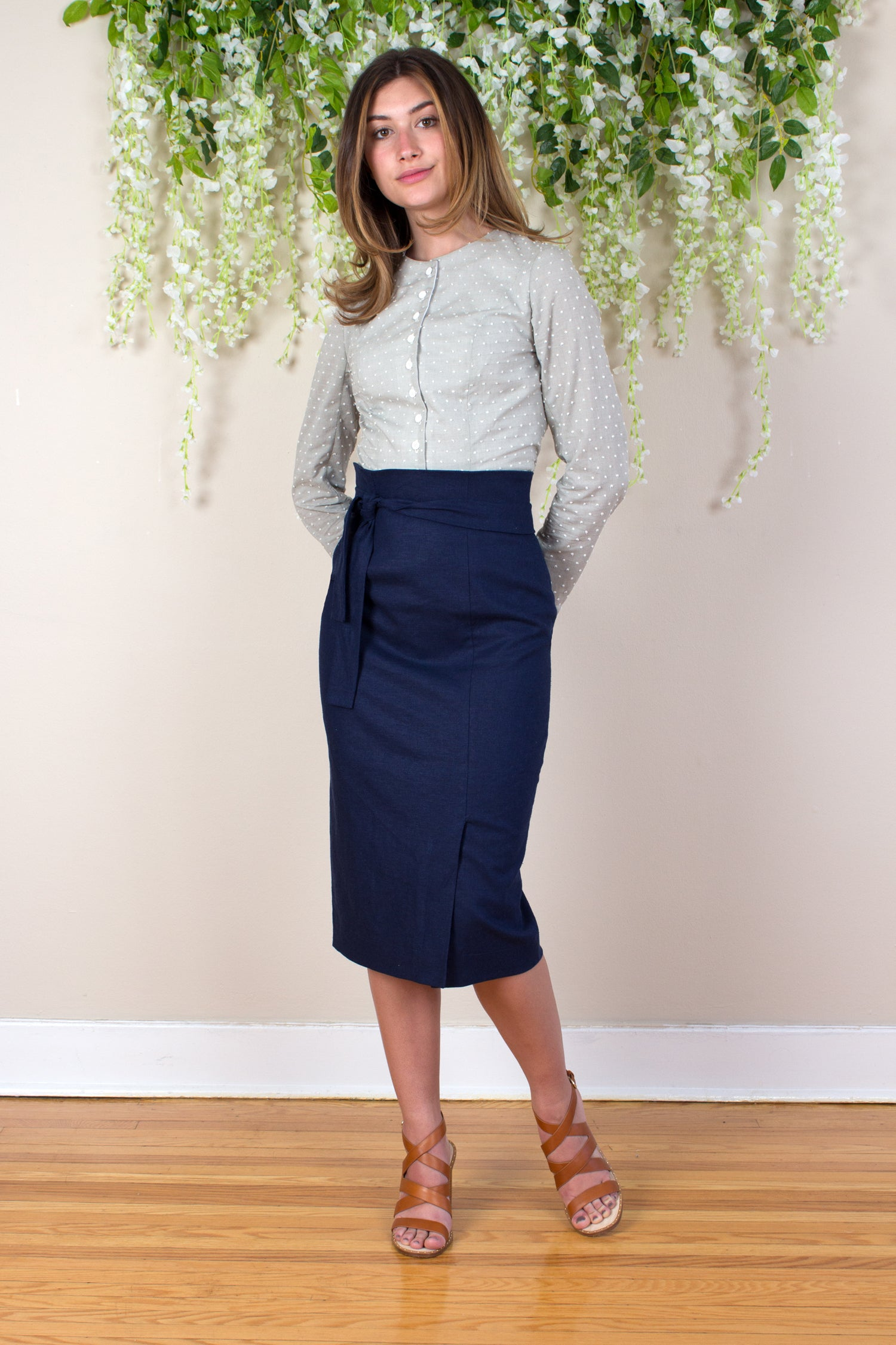 Linen Pencil Skirt - Navy