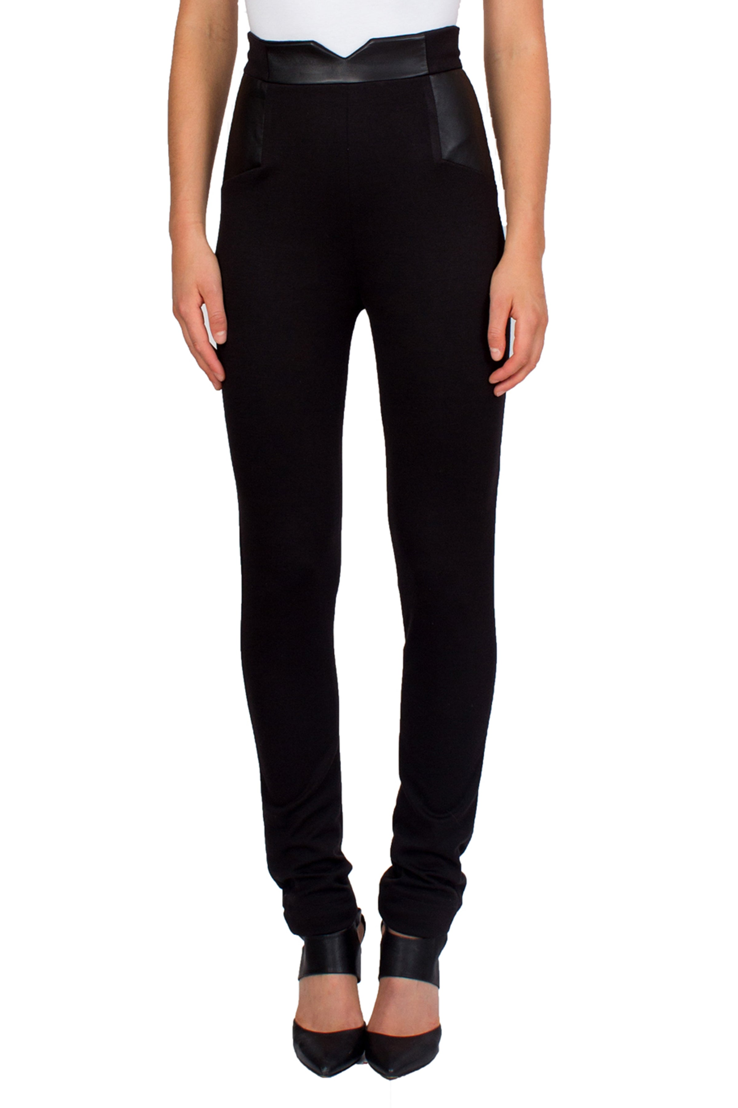 High Waisted Black Pants With Leather Insets - Tetiana K - 2