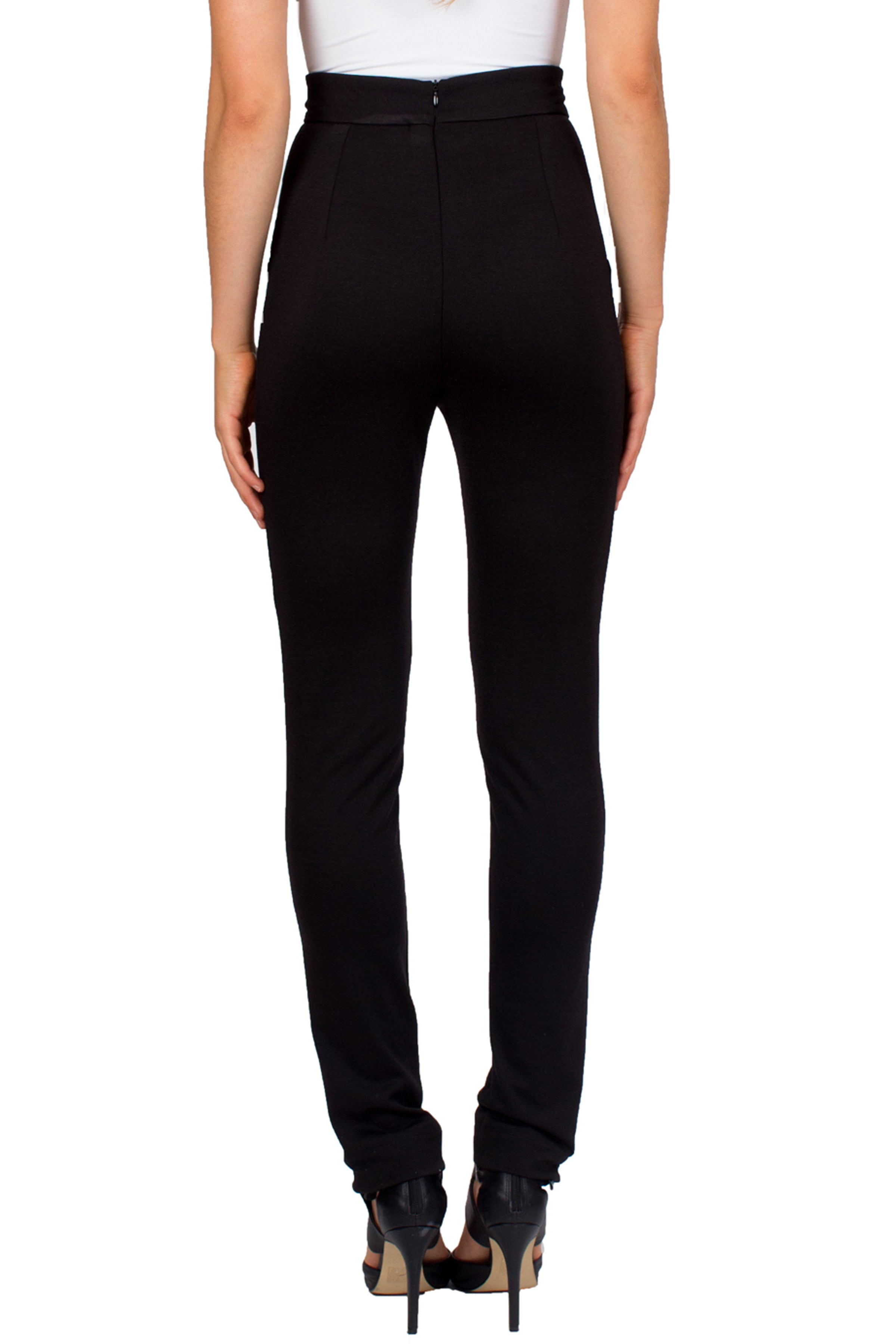 High Waisted Black Pants With Leather Insets - Tetiana K - 3