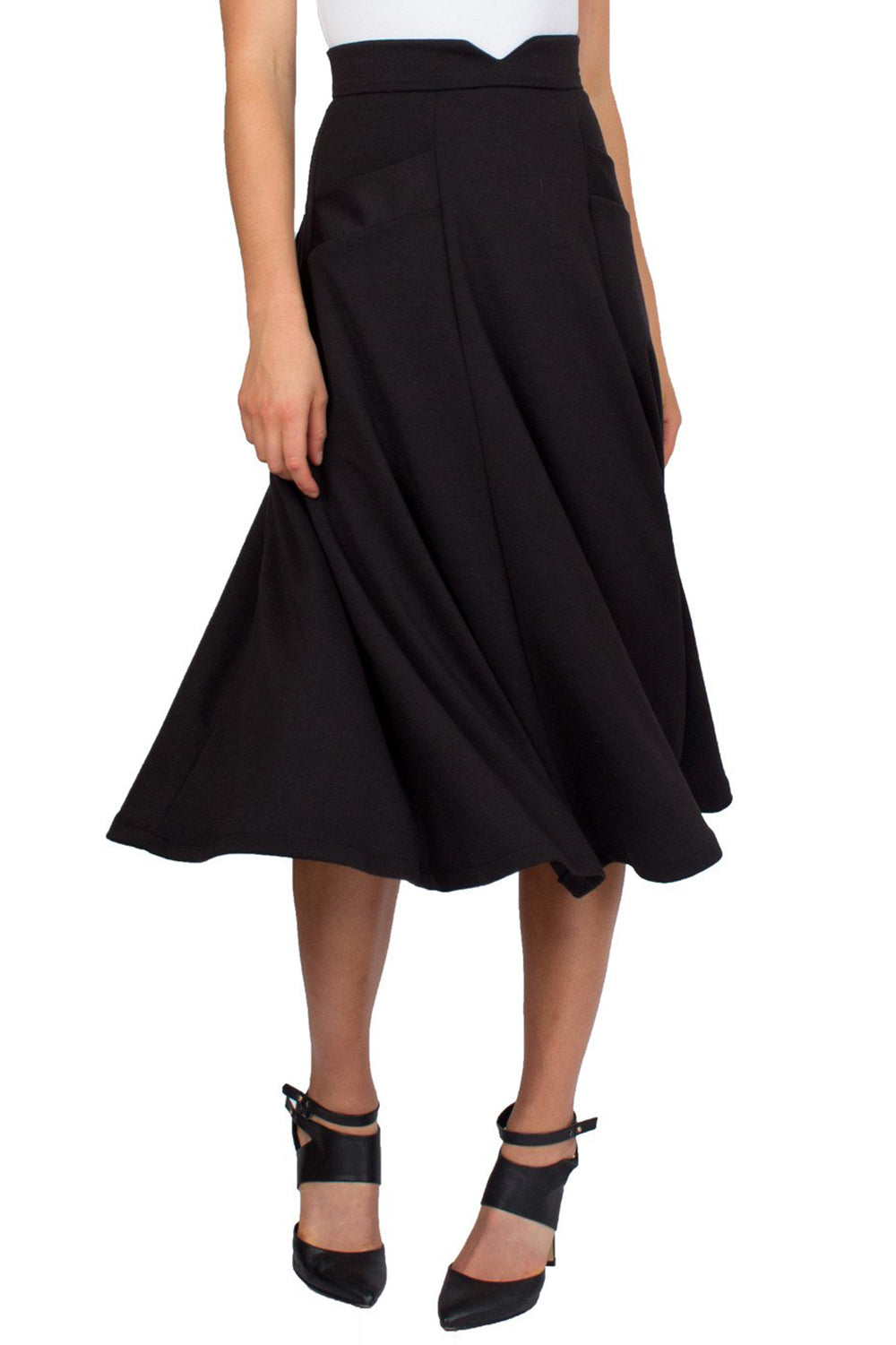 Black Swing Midi Skirt With Slant Pockets and Notch Detail on Waist