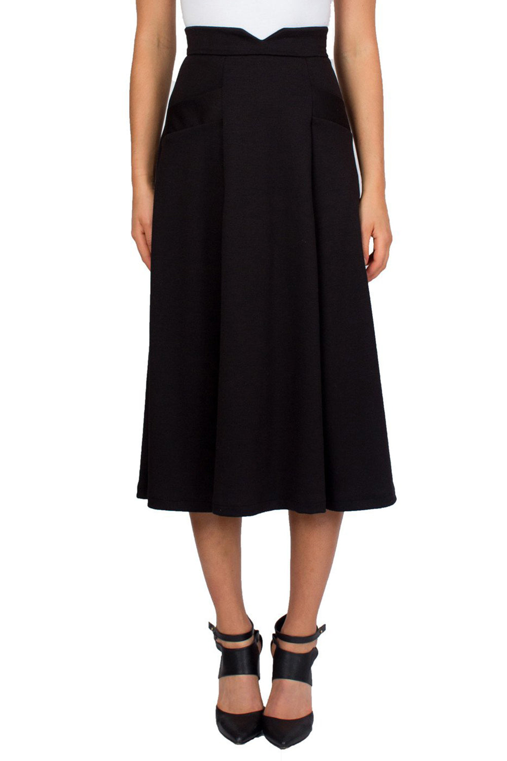 Black Swing Midi Skirt With Slant Pockets and Notch Detail on Waist - Tetiana K - 2