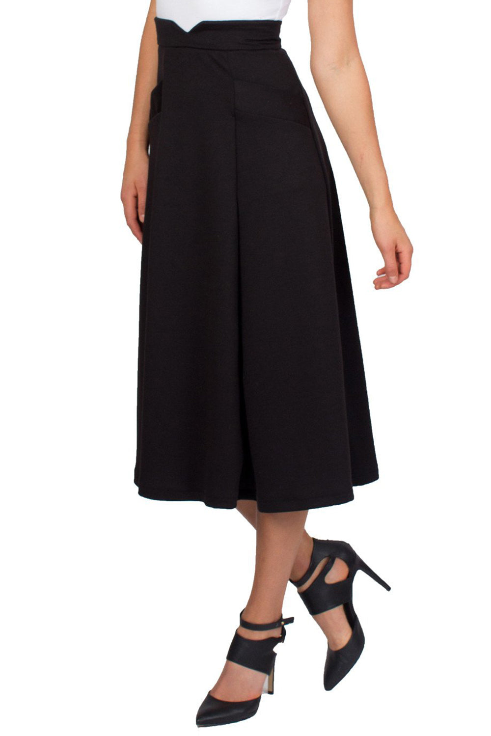 Black Swing Midi Skirt With Slant Pockets and Notch Detail on Waist - Tetiana K - 3