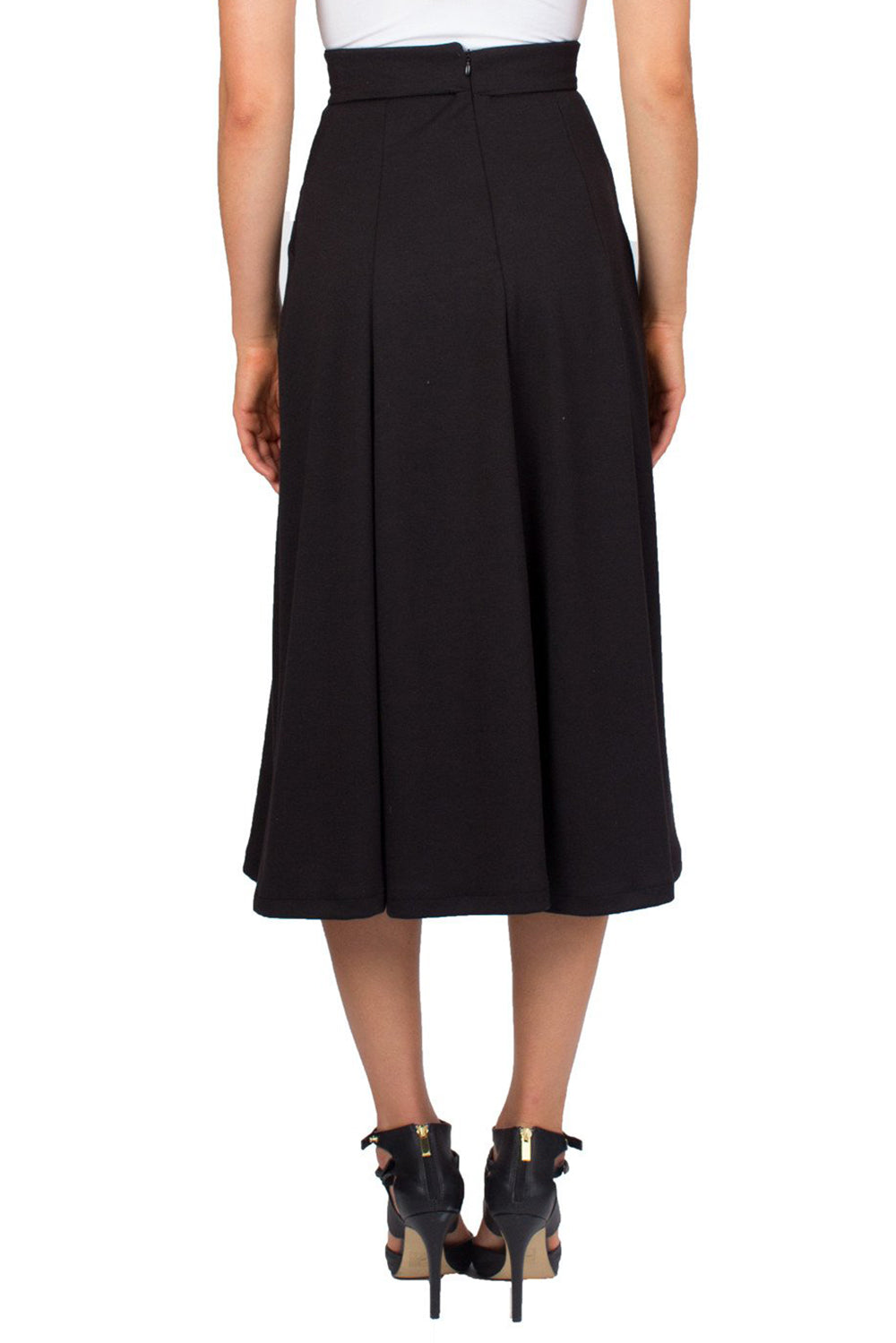 Black Swing Midi Skirt With Slant Pockets and Notch Detail on Waist - Tetiana K - 4
