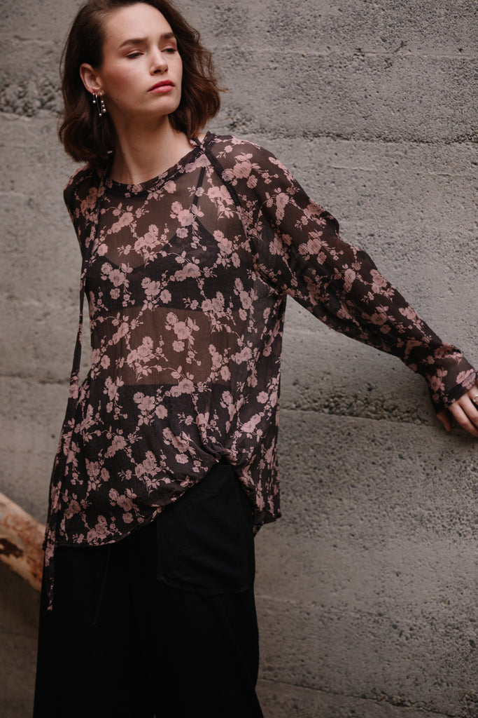 Bends Sweater | Floral Silk