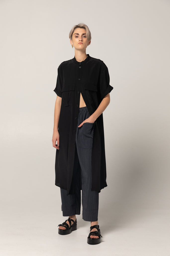 Stage Shirt Dress | Black Silk - Company Store