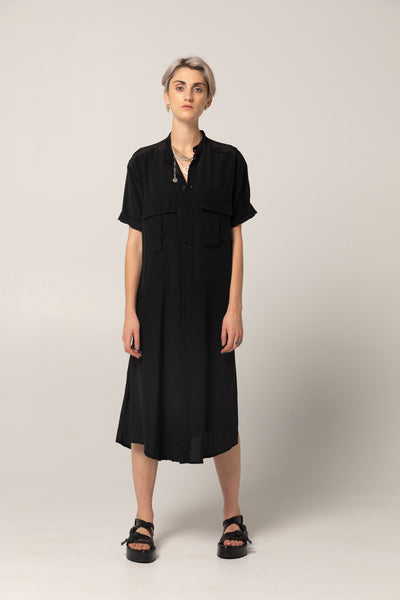 Stage Shirt Dress | Black Silk