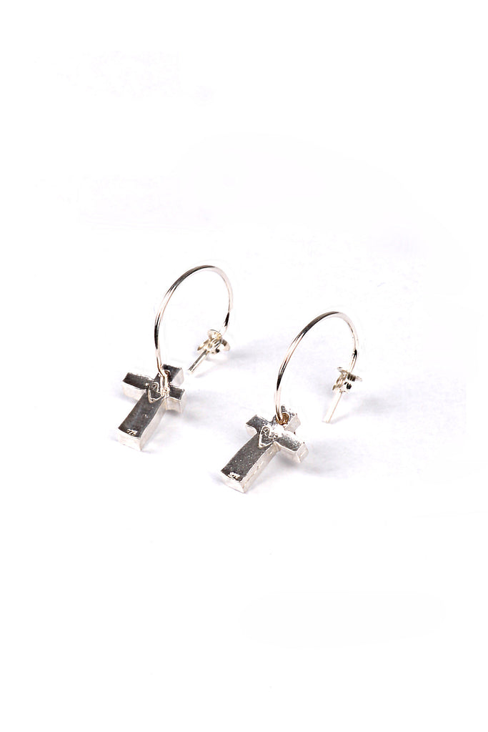 Block Cross Earrings- Silver