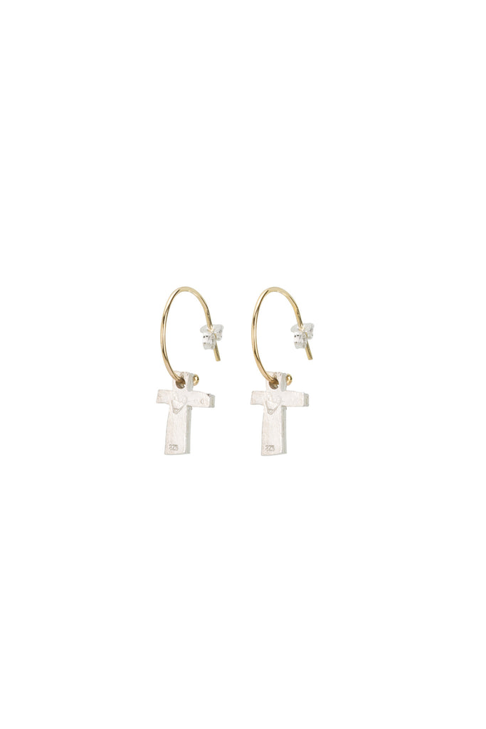 underground sundae-block Cross Earrings- Gold