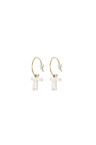 Block Cross Earrings- Gold