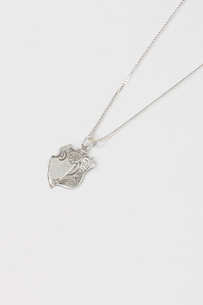 Broken Medal Necklace- Silver