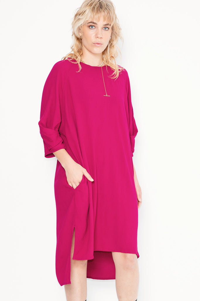 Radio Song Dress | Fuchsia Twill - Company Store