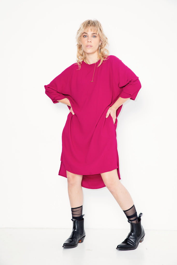 Radio Song Dress | Fuchsia Twill