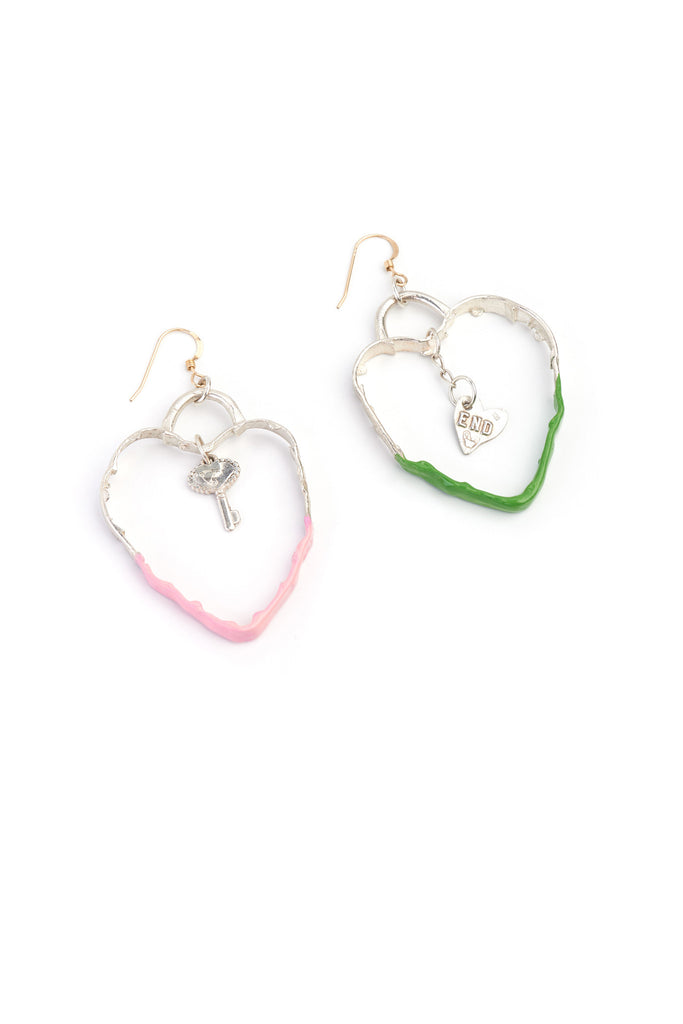 underground sundae-milk bottle heart charm earrings