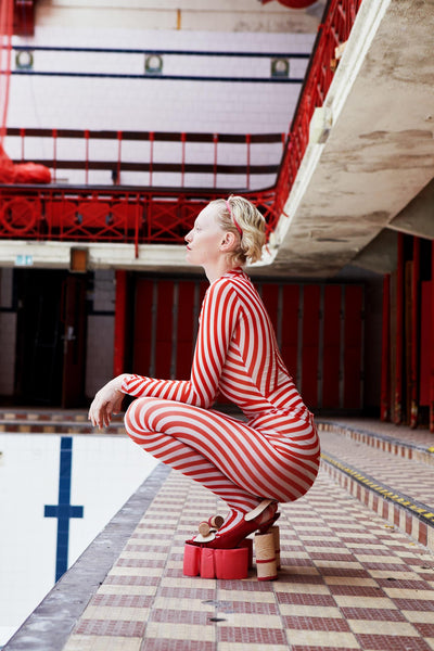Pool Tights | Red Stripe