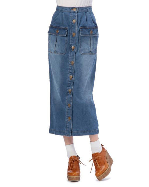 Corset Pocket Denim Skirt