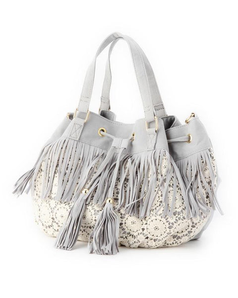 Fringe Drawstring Purse
