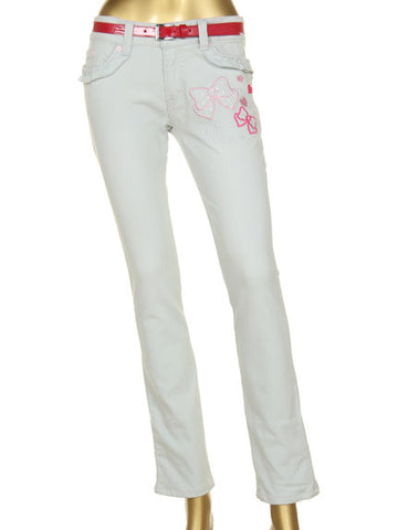 Ribbon Embroidered Jeans & Belt Set