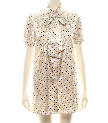 Floral Polka Dot Blouse Dress