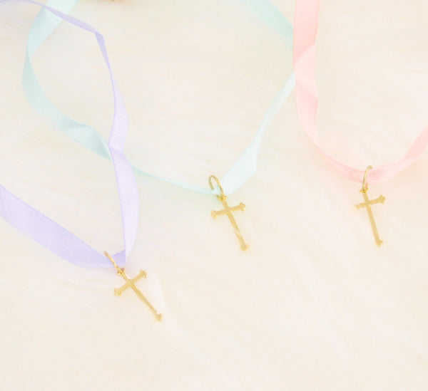 Satin Ribbon Cross Choker