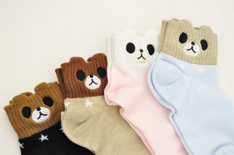 Embroidered Bear Face Socks