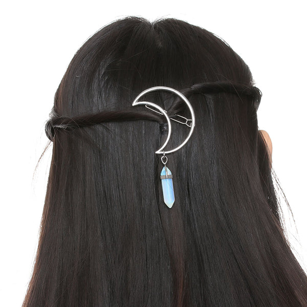Crystal and Moon Crescent Hair Pin