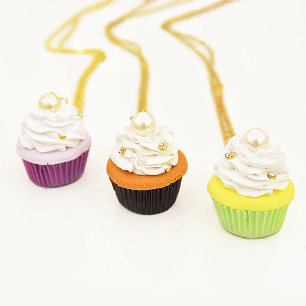 Jeweled Cupcake Necklace